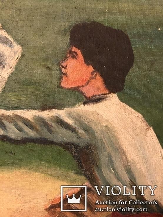 Работа по мотивам картины ''На кладке'' К.Трутовского . Копия., фото №4