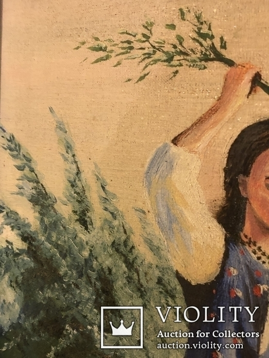Работа по мотивам картины ''На кладке'' К.Трутовского . Копия., фото №8