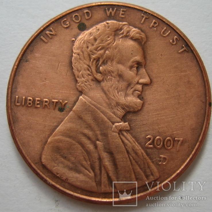 США 1 цент 2007 года.D., фото №2