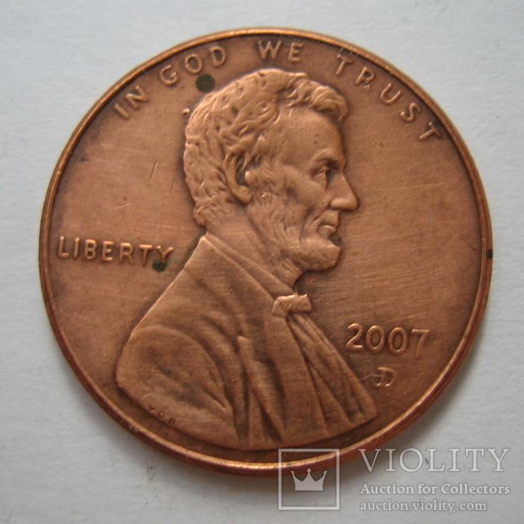 США 1 цент 2007 года.D., фото №3