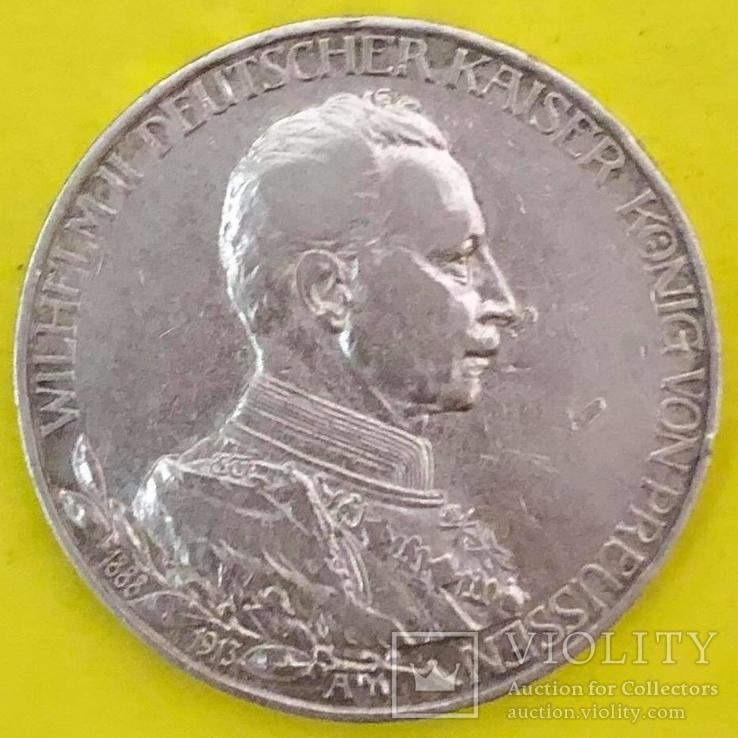 Німецька імперія 3 марки, 1913р. Срібло., фото №2