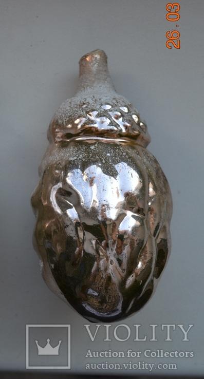"""Старая стеклянная новогодняя игрушка ёлку """"Дедушка Жёлудь"""", """"Старичок Лесовичок"""" №2. 11 см, фото №6"""