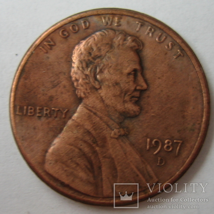 США 1 цент 1987 года.D, фото №2