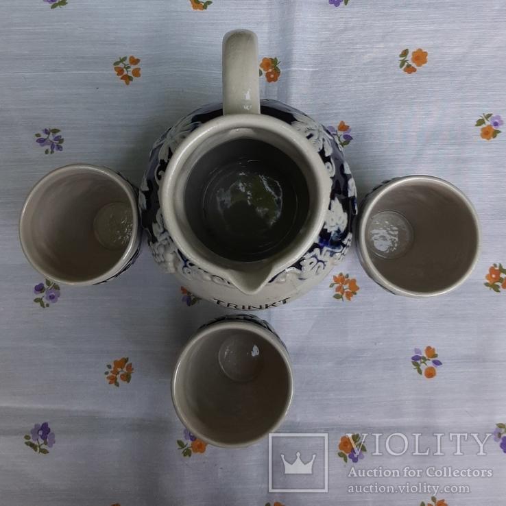Кувшин и три стопки,керамика .Германия, фото №4