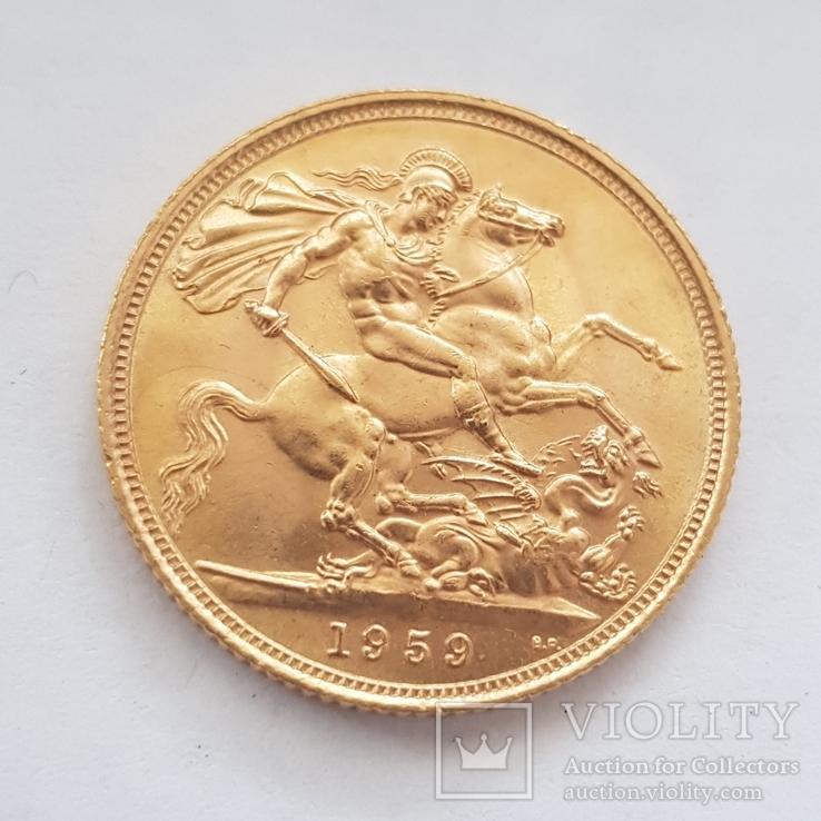 Соверен 1959г. Золото 917пр. 7.99грам, фото №2