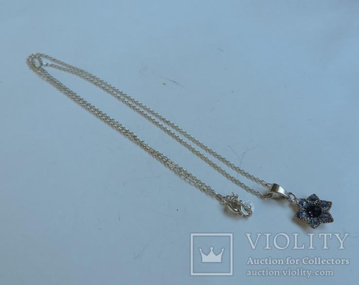 Серебряная цепочка с кулоном в форме цветочка. 925 проба., фото №4