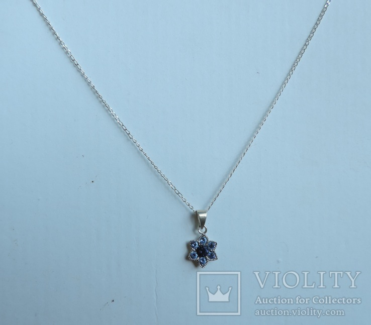 Серебряная цепочка с кулоном в форме цветочка. 925 проба., фото №5