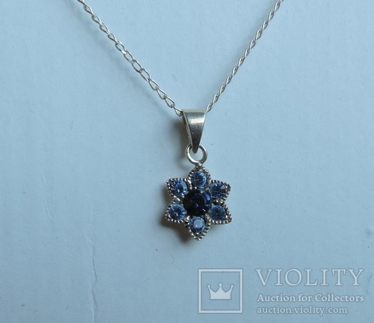 Серебряная цепочка с кулоном в форме цветочка. 925 проба., фото №6