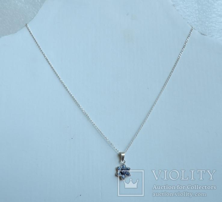 Серебряная цепочка с кулоном в форме цветочка. 925 проба., фото №7