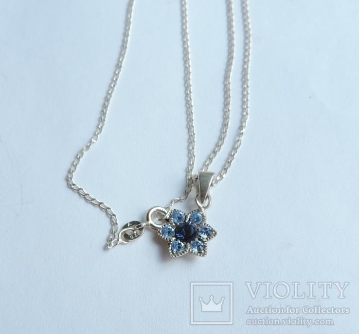 Серебряная цепочка с кулоном в форме цветочка. 925 проба., фото №8