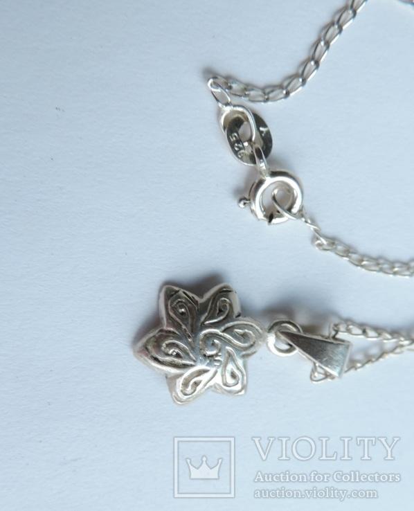 Серебряная цепочка с кулоном в форме цветочка. 925 проба., фото №9