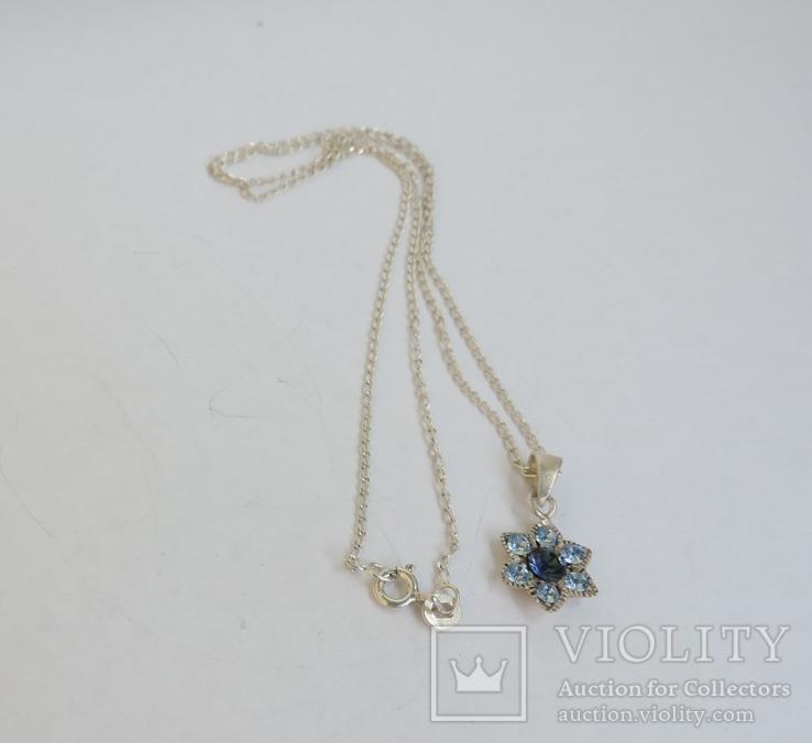 Серебряная цепочка с кулоном в форме цветочка. 925 проба., фото №10