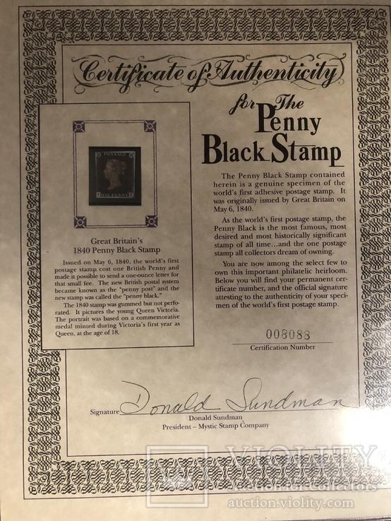 Первая марка мира. Чёрный пенни. 1840 год. С сертификатом и буклетом., фото №4