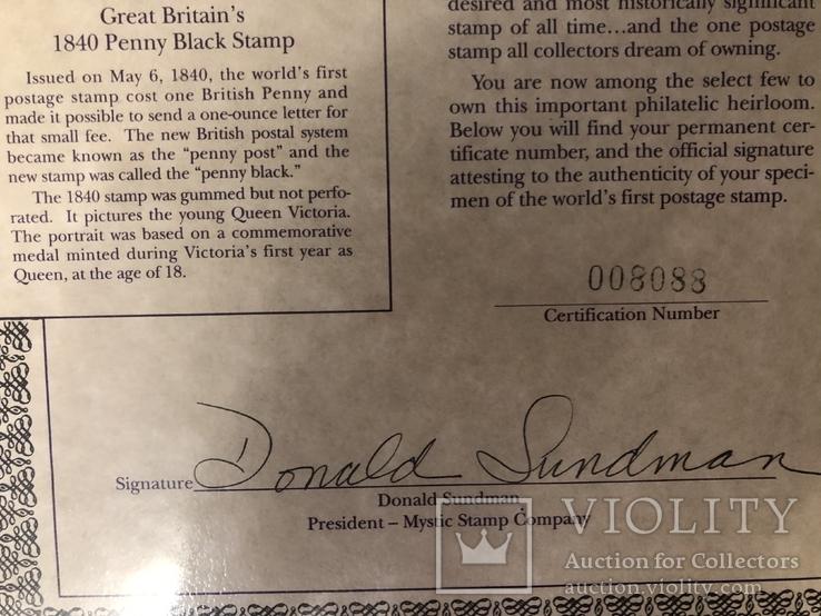 Первая марка мира. Чёрный пенни. 1840 год. С сертификатом и буклетом., фото №6