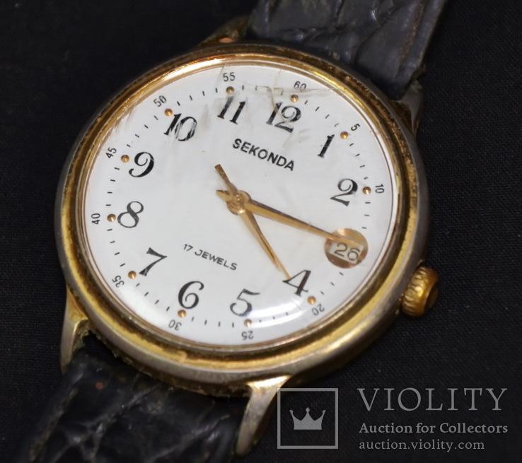 Старые часы Sekonda 17 jewels. Красивый циферблат., фото №2