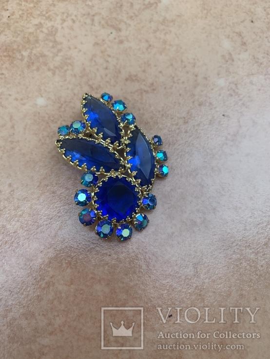 Брошь с синими камнями, фото №3