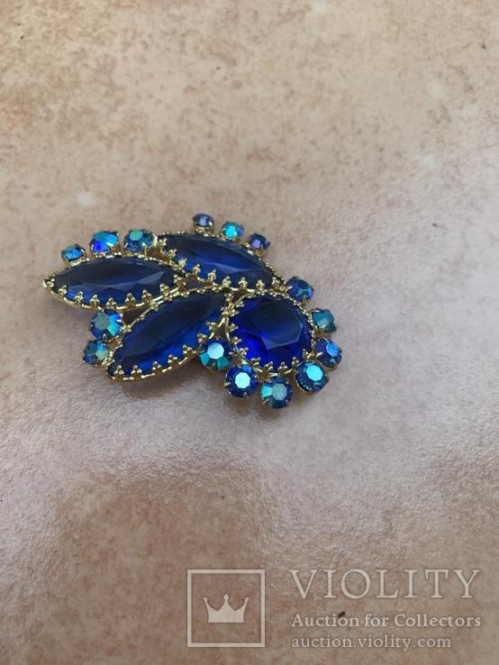 Брошь с синими камнями, фото №4