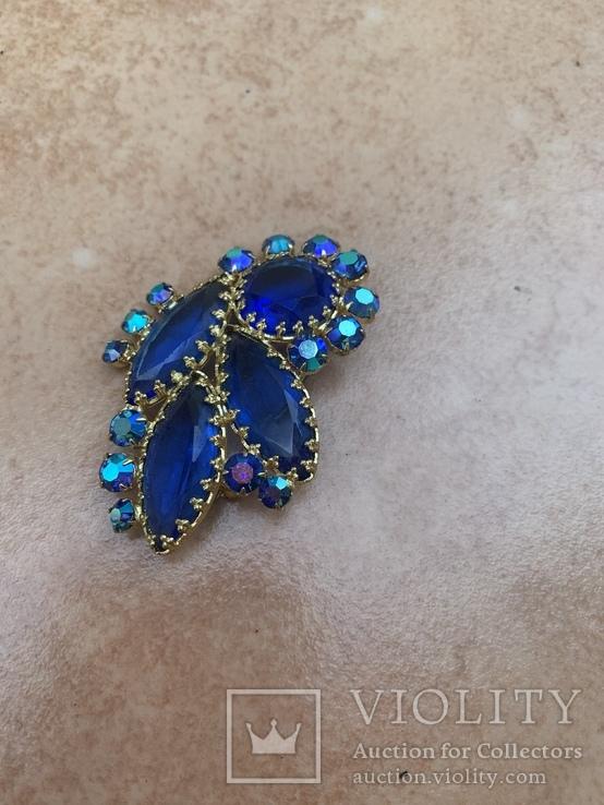 Брошь с синими камнями, фото №5