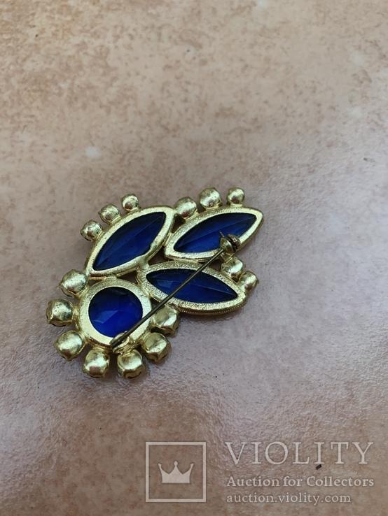 Брошь с синими камнями, фото №7