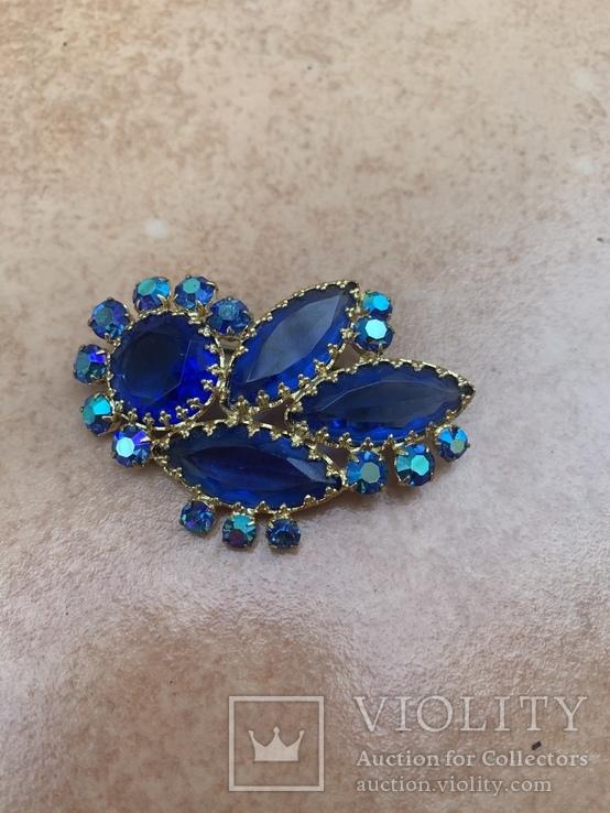 Брошь с синими камнями, фото №8