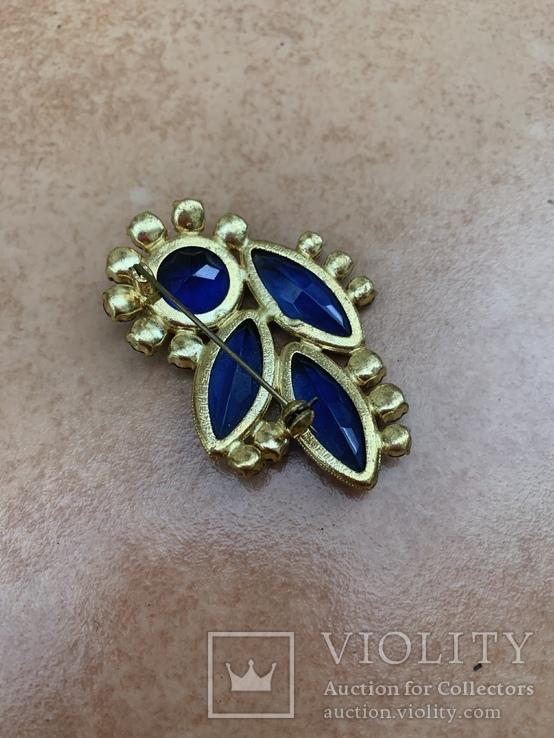 Брошь с синими камнями, фото №9