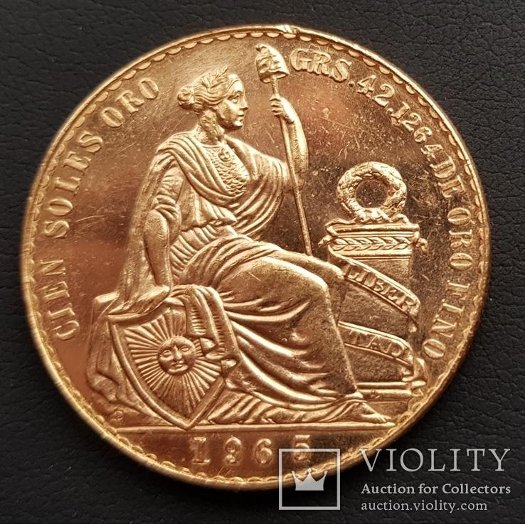 100 Перуанських Солей 1965р., золото 46,8г., фото №7