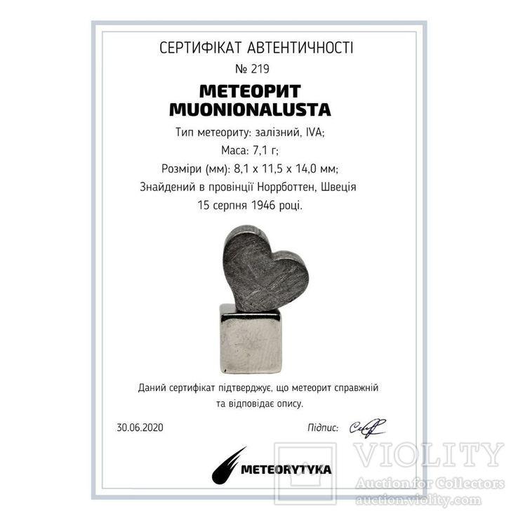 Залізній метеорит Muonionalusta, форма серця, 7,1 грам, сертифікат автентичності, фото №13