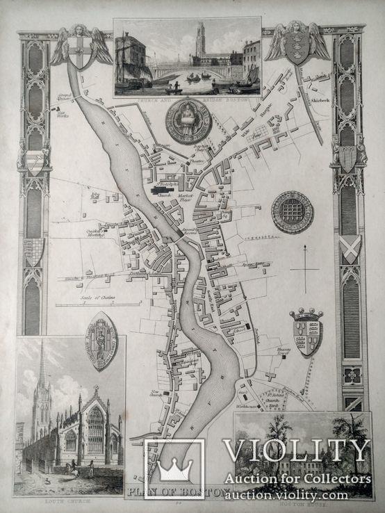 1850 План Бостона, Томас Моул (Thomas Moule). Карта (22х28) СерияАнтик