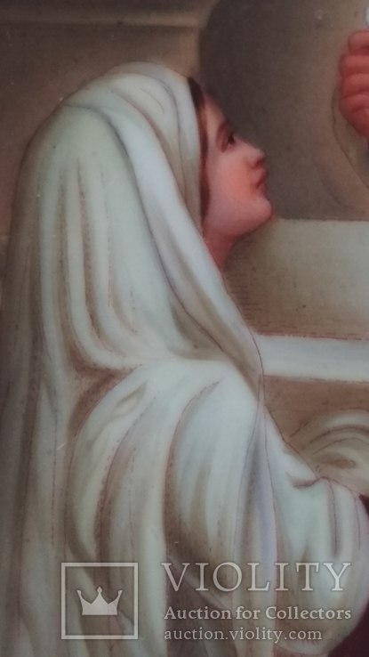 Старая картина, живопись на фарфоре, фото №8