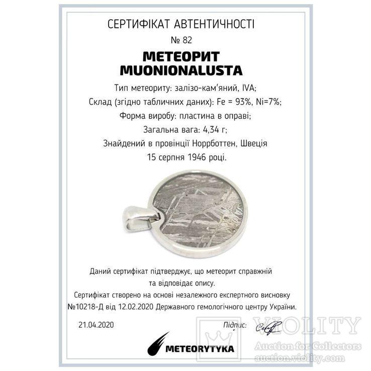 Кулон круглий з залізним метеоритом Muonionalusta, із сертифікатом, фото №10