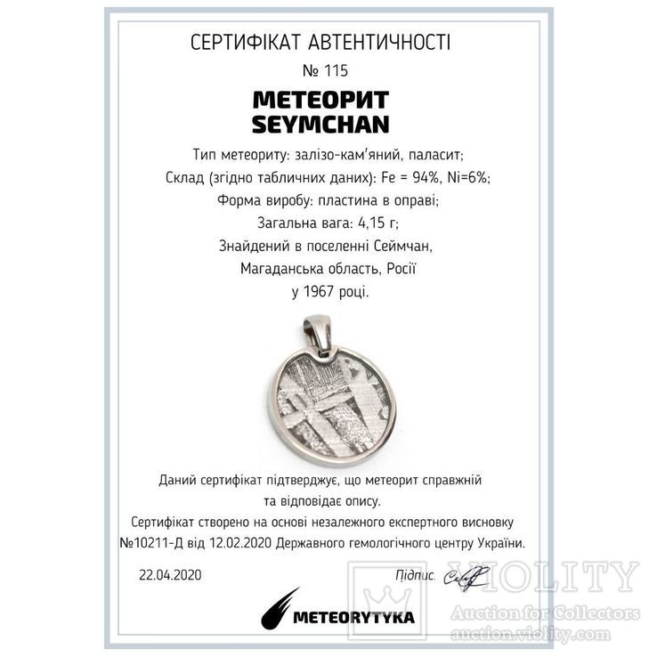 Кулон круглий з залізо-кам'яним метеоритом Seymchan, з сертифікатом, фото №3