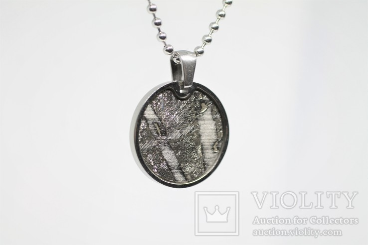 Кулон круглий з залізо-кам'яним метеоритом Seymchan, з сертифікатом, фото №8