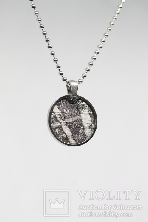 Кулон круглий з залізо-кам'яним метеоритом Seymchan, з сертифікатом, фото №9
