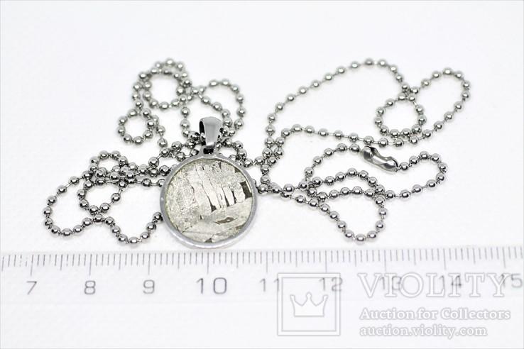 Кулон круглий із залізо-кам'яним метеоритом Seymchan, з сертифікатом, фото №5