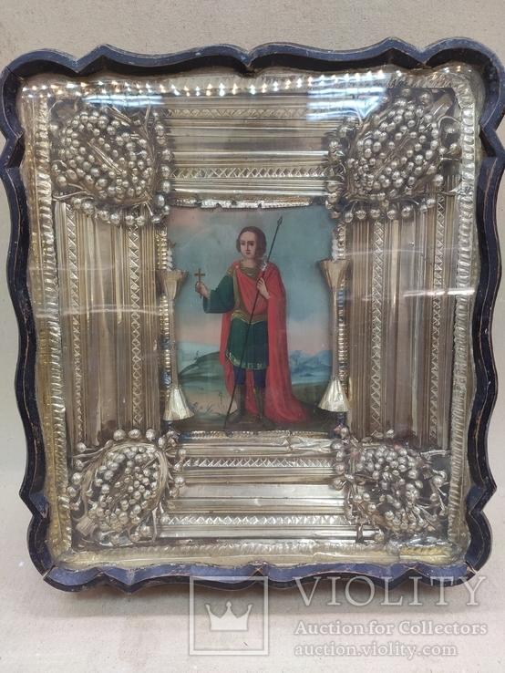 Икона Св.Димитрий Мироточивый. Фигурный киот. 40х44см., фото №3