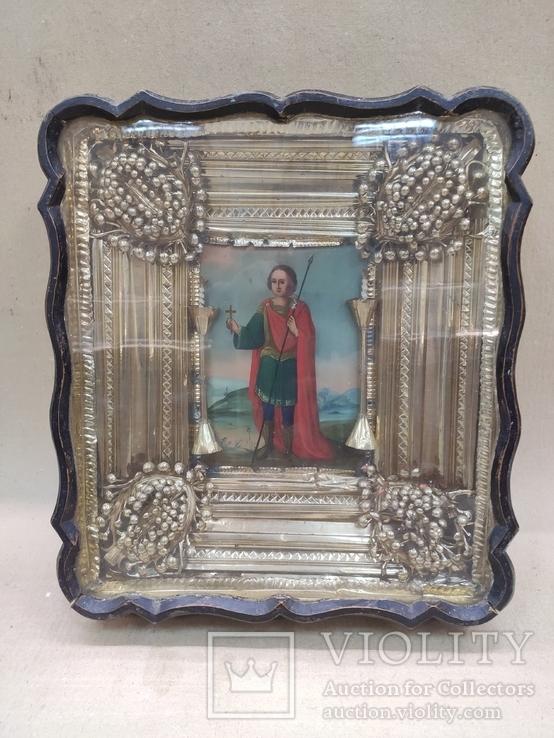 Икона Св.Димитрий Мироточивый. Фигурный киот. 40х44см., фото №8