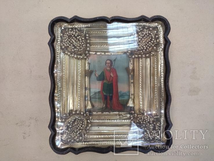 Икона Св.Димитрий Мироточивый. Фигурный киот. 40х44см., фото №12