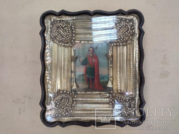 Икона Св.Димитрий Мироточивый. Фигурный киот. 40х44см., фото №13