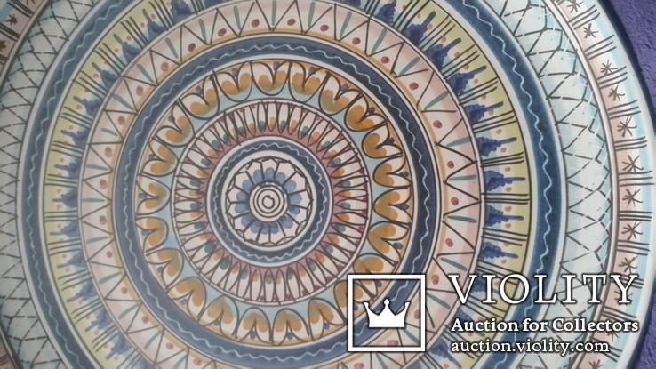 Большая старинная настенная тарелка ручная роспись, фото №4