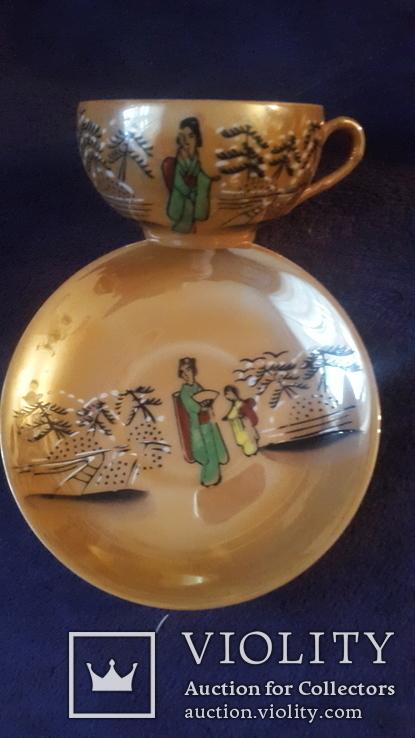 Старинная чашка с блюдцем и тарелкой из тончайшего фарфора Япония, фото №2