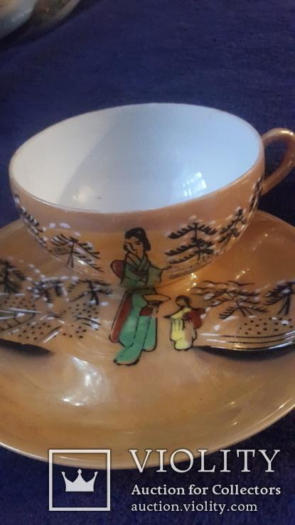 Старинная чашка с блюдцем и тарелкой из тончайшего фарфора Япония, фото №3