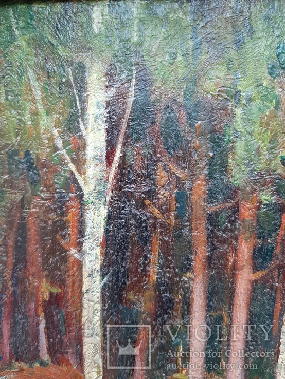 Дровница на опушке леса. Масло, фото №7