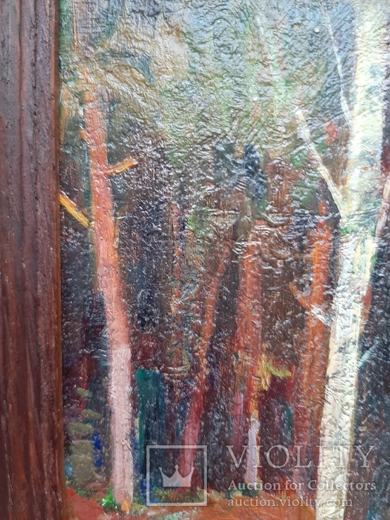 Дровница на опушке леса. Масло, фото №8