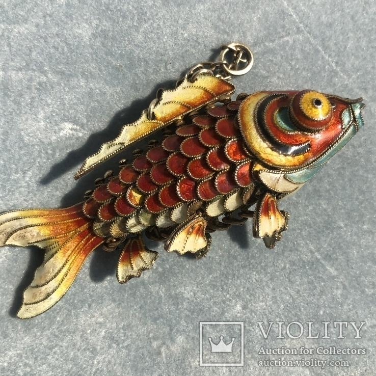 Рыбка, серебряная подвижная подвеска в цветных эмалях,карп кои, старый экспортный Китай, фото №2