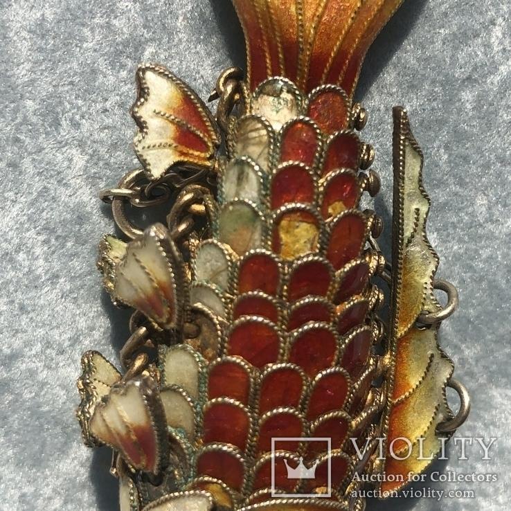 Рыбка, серебряная подвижная подвеска в цветных эмалях,карп кои, старый экспортный Китай, фото №7