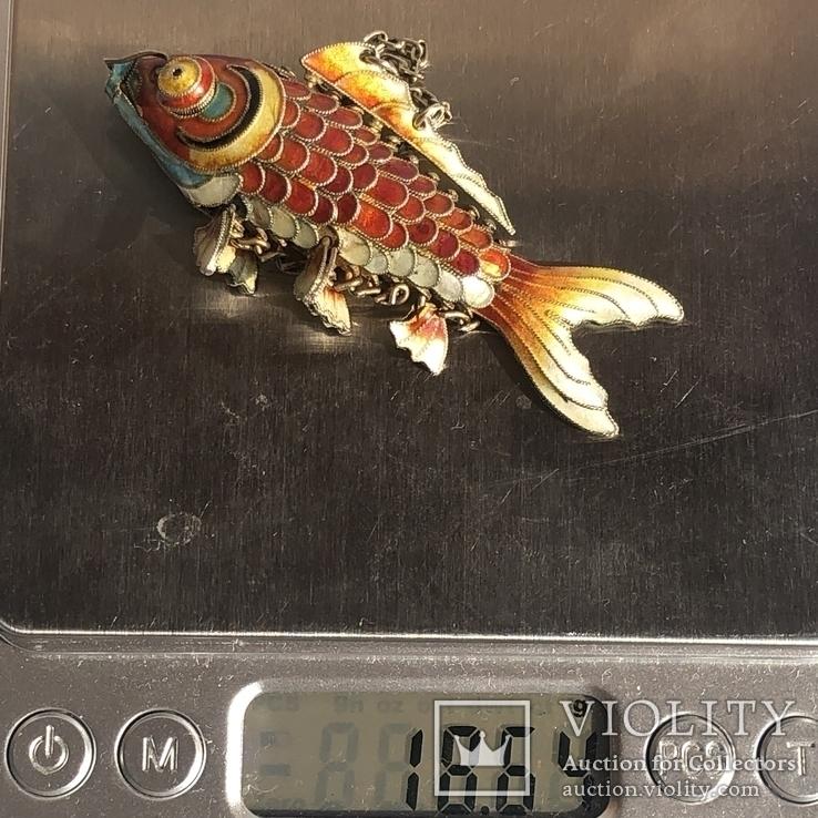 Рыбка, серебряная подвижная подвеска в цветных эмалях,карп кои, старый экспортный Китай, фото №11