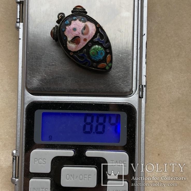 Серебряный кулон/таблетница с эмалями,старый экспортный Китай, фото №13