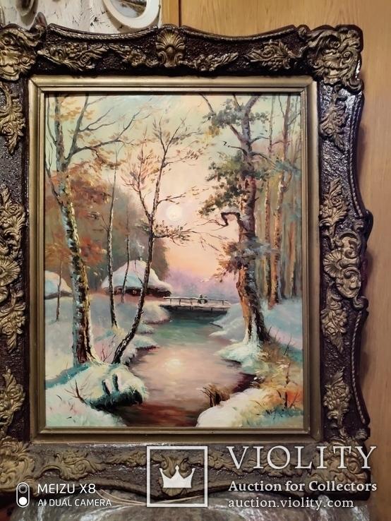 Большая старая картина в раме Зимний пейзаж