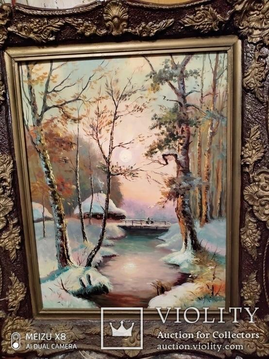Большая старая картина в раме Зимний пейзаж, фото №3