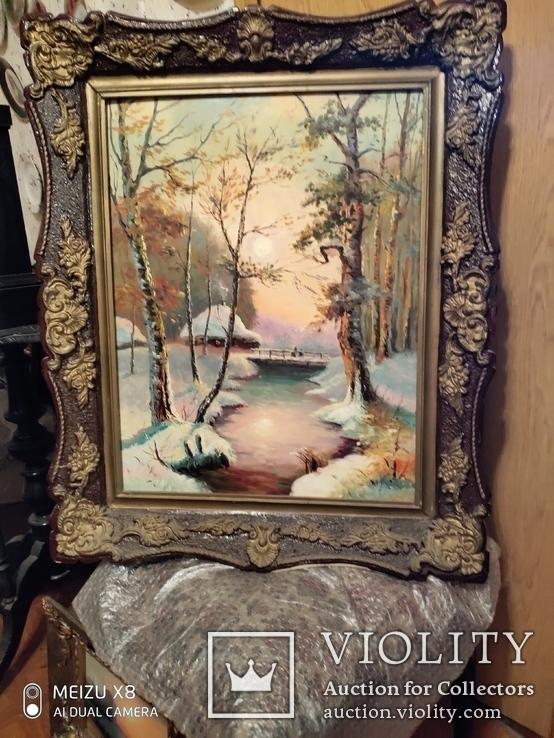 Большая старая картина в раме Зимний пейзаж, фото №5
